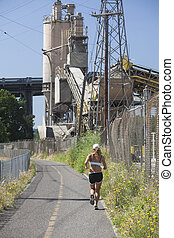Runner on Portlands New Springwater Corridor - Female runner...