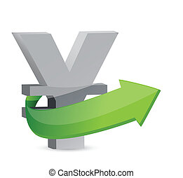 yen sign with arrow Symbolize growth Illustration design