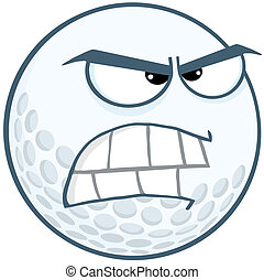 Angry Golf Ball Cartoon Character - Angry Golf Ball Cartoon...