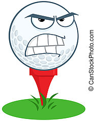 Angry Golf Ball Over Tee Cartoon Character