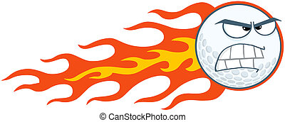 Angry Flaming Golf Ball Cartoon Character
