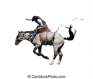 Saddle Bronc with Clipping Path - Saddle Bronc riding at the...