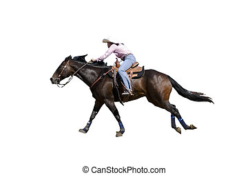 Barrel Racing woman with clipping path