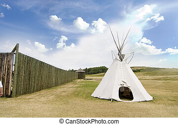 Tepee Detail - Tepee detail at the Cypress Hills Provincial...