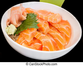 Bowl of salmon sashimi - Juicy salmon sashimi put into white...