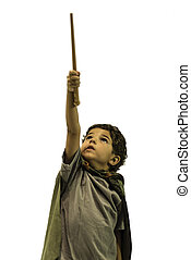 Child Wizard - Child posing as a wizard with wand in hand