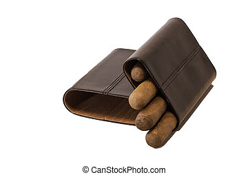 Cigar Case - Black cigar case with four cigars inside on a...