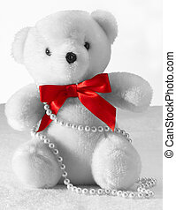 Teddy Bear - White Teddy bear with a red bow tie and pearls