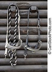 Details of diversity used horse reins, background the log...