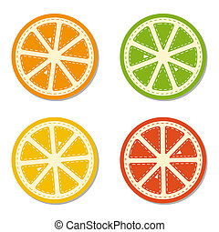 Set of pads under mugs in forms of slices citrus.