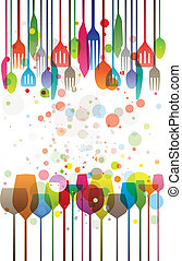 Colorful Dinner - Colorful illustration of glasses and...