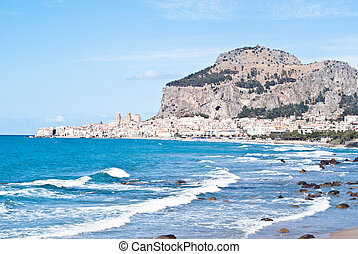 beach of cefalu, Sicily - Beautiful View of Cefalù Town In...