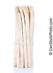 fresh white asparagus on the bamboo background