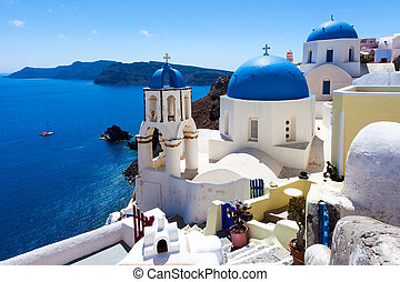 Blue Dome Churches Oia Santorini - Blue domed churches on...