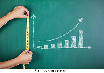 womans hands measuring bar graph with tape on blackboard -...