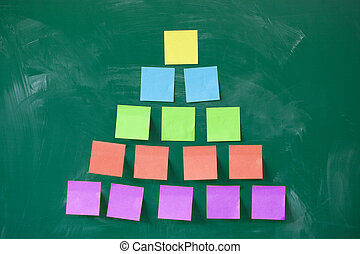 colorful pyramid made of blank note papers stuck on...
