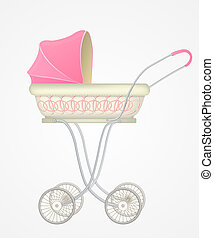 Vector illustration of baby carriage for girl