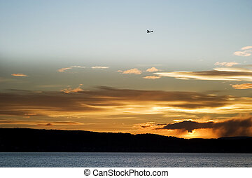 Oslo Fjord - An airplane flying over the Oslo Fjord during...