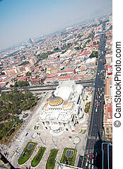 Aereal view of Mexico city and the Palacio of Bellas artes -...