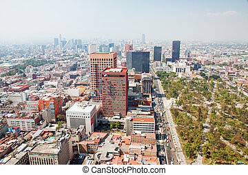 Aereal view of Mexico city and the Palacio of Bellas artes...