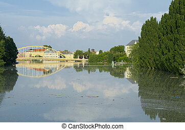 Close-up View of Flooded Gyor Town at Sunset When Danube...
