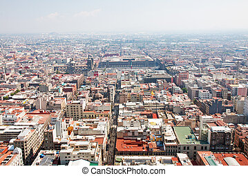 Aerial view of Mexico City and the Zocalo