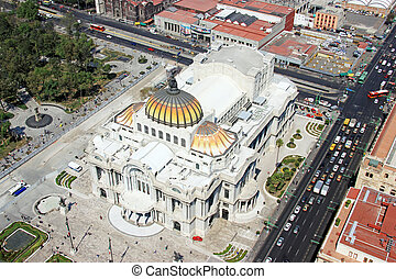 Aerial view of Mexico city and he Palacio de Bellas Artes,...