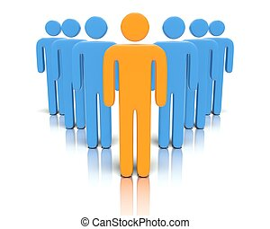 Leader in front of a group people - A 3D concept graphic...