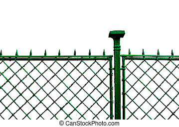 Metal grid fence - Green metal grid fence, urban scenery...