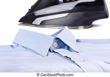 Close-up collar shirt and iron