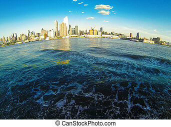 Manhattan Skyline on Hudson - Cityscape Architecture...