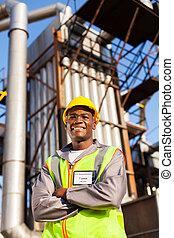 Afro, norteamericano, aceite, industrial, trabajador,...