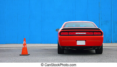 Red Muscle Car - Supercharged Muscle Car parked next to Blue...