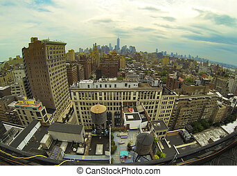Manhattan Architecture - New York City View from roof of...