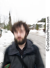 Blur Abstract - A motion blur abstract of a person walking...