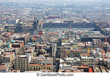 Aerial view of Zocalo, Mexico City - Aerial view of Mexico...