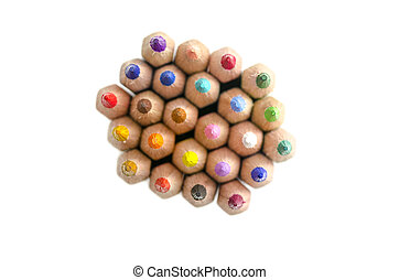 Stack of colored pencils - Top view of stack of colored...