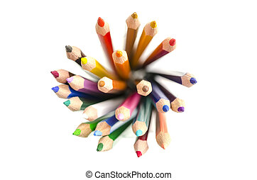 Top view of colored pencils - Top view of stack of colored...