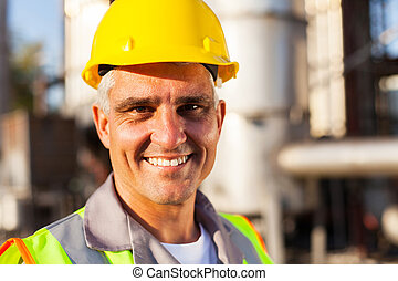 senior oil and chemical worker