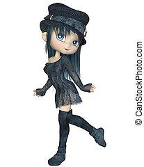 Cute Toon Girl in Blue Hat, Walking