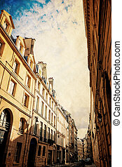 retro style paris - old-fashioned paris france - with space...