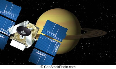 Satellite Approaches Saturn - 3D animation of satellite...