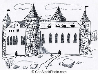 Medieval castle - The medieval lock - drawing on paper