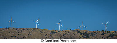 Wind turbines in the Columbia River Gorge