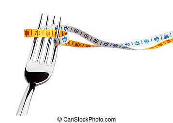fork and measuring tape for a healthy lifestyle
