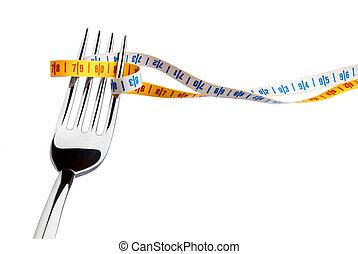 tenedor, medición, cinta
