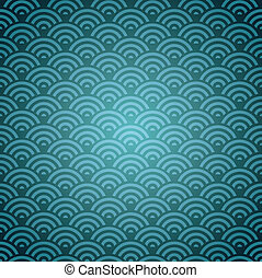 Blue Orient pattern - Elegant Oriental abstract wave design...