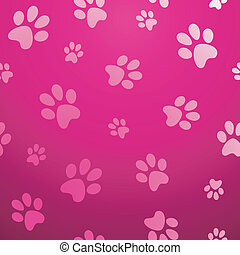 Seamless paw pet pattern - Cute dog footprint abstract pink...