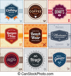 Retro labels - Set of retro vintage badges and labels with...