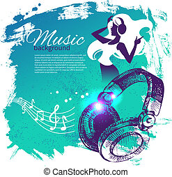 Music background with hand drawn illustration and dance girl silhouette. Splash blob retro design